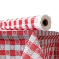 "Plastic Table Cover, 40"" x 300 ft Roll, Red Gingham"