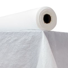 "Plastic Table Cover, 40"" x 300ft, White"