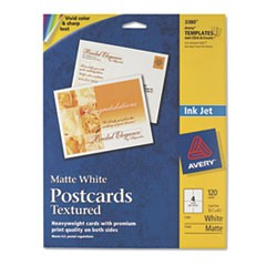 Textured Postcards, Inkjet, Heavyweight, 4 1/4 x 5 1/2, Matte White, 120/Box