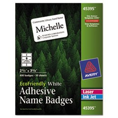 EcoFriendly Adhesive Name Badge Labels, 2 1/3 x 3 3/8, White, 400/Box