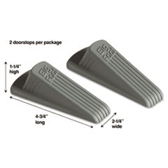 Big Foot Doorstop, No Slip Rubber Wedge, 2 1/4w x 4 3/4d x 1 1/4h, Gray, 2/Pack