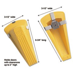 Giant Foot Magnetic Doorstop, No-Slip Rubber Wedge, 3.5w x 6.75d x 2h, Yellow