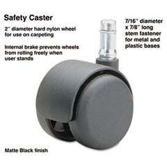 Safety Casters, Standard Neck, Nylon, B Stem, 110 lbs/Caster, 5/Set
