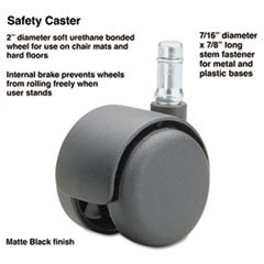 Safety Casters,Standard Neck, Polyurethane, B Stem, 110 lbs./Caster, 5/Set