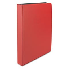 "Economy Non-View Round Ring Binder, 1"" Capacity, Red"