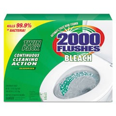 2000 Flushes Plus Bleach, 1.25oz, Box, 2/Pack, 6 Packs/Carton