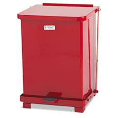 Defenders Biohazard Step Can, Square, Steel, 7 gal, Red