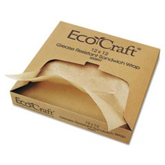 EcoCraft Grease-Resistant Paper Wraps and Liners, Natural, 12 x 12, 1000/Box, 5 Boxes/Carton