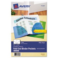 Small Binder Pockets, Fold-Out, 5 1/2 x 9 1/4, Assorted, 3/Pack