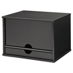 Midnight Black Collection Desktop Organizer, 13 3/10 x 10 1/2 x 9 1/5, Wood
