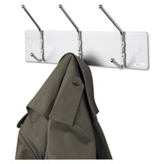Metal Wall Rack, Three Ball-Tipped Double-Hooks, 18w x 3.75d x 7h, Satin Metal