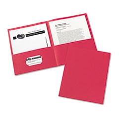 Two-Pocket Folder, 20-Sheet Capacity, Red, 25/Box