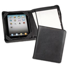 iPad Zipper Composition Padfolio, Leather, Black