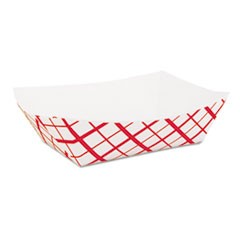 Paper Food Baskets, 2lb, Red/White, 1000/Carton