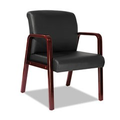 Alera Reception Lounge Series Guest Chair, Cherry/Black Leather