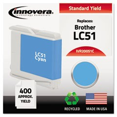 Remanufactured LC51C Ink, 400 Page-Yield, Cyan