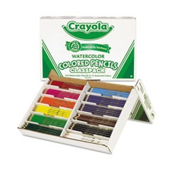Watercolor Wood Pencil Classpack, 3.3 mm, 12 Asstd Clrs, 240 Pencils/Box