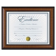 Prestige Document Frame, Walnut/Black, Gold Accents, Certificate, 8 1/2 x 11