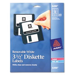"Laser/Inkjet 3.5"" Diskette Labels, White, 375/Pack"