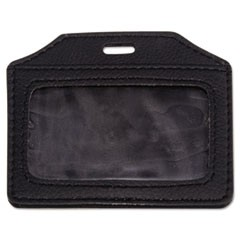 Leather-Look Badge Holder, 2 1/2 x 3 1/2, Horizontal, Black, 5/PK