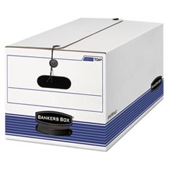 Bankers Box Stor/File Medium-Duty Strength Storage Boxes, Letter Files, 12.25  X 24.13  X 10.75 , White/Blue, 4/Carton