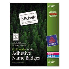 EcoFriendly Adhesive Name Badge Labels, 3.38 x 2.33, White, 160/Box