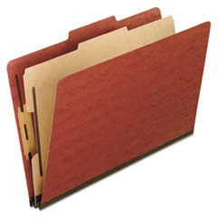 Four-Section Pressboard Folders, Letter, Red, 10/Box