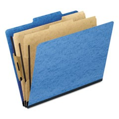 Six-Section Colored Classification Folders, 2 Dividers, Letter Size, Light Blue, 10/Box