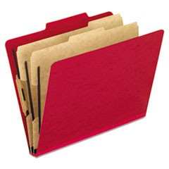 Six-Section Colored Classification Folders, Letter, Scarlet, 10/Box
