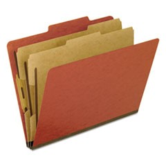 Four-, Six-, and Eight-Section Pressboard Classification Folders, 2 Dividers, Bonded Fasteners, Letter Size, Red, 10/Box