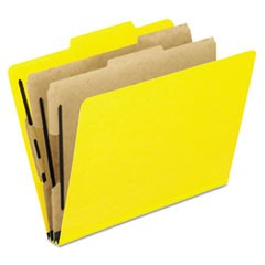Six-Section Colored Classification Folders, 2 Dividers, Letter Size, Yellow, 10/Box