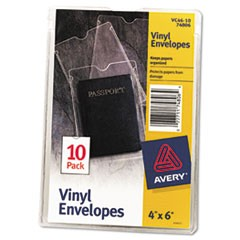 Top-Load Clear Vinyl Envelopes w/Thumb Notch, 4 x 6, Clear, 10/Pack