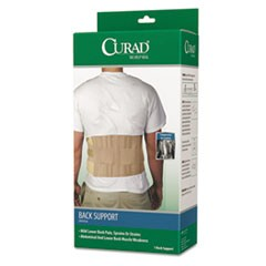 "Back Support, Elastic, 33"" to 48"" Waist Size, 33w x 48d x 10h, 6 Stays, Beige"