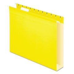 "Reinforced 2"" Extra Capacity Hanging Folders, 1/5 Tab, Letter, Yellow, 25/Box"