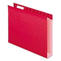 "Reinforced 2"" Extra Capacity Hanging Folders, 1/5 Tab, Letter, Red, 25/Box"