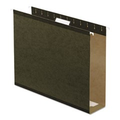 "Reinforced 3"" Extra Capacity Hanging Folders, Letter, Standard Green, 25/Box"