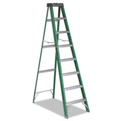 Fiberglass Step Ladder, 8 ft Working Height, 225 lbs Capacity, 7 Step, Green/Black