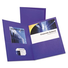 Twin-Pocket Folder, Embossed Leather Grain Paper, Purple, 25/Box