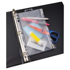 Zippered Ring Binder Pocket, 6 x 9-1/2, Clear/White