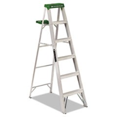 Aluminum Step Ladder, 6 ft Working Height, 225 lbs Capacity, 5 Step, Aluminum/Green