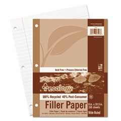 Ecology Filler Paper, 3-Hole, 8 x 10 1/2, Wide/Legal Rule, 150/Pack