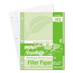 Ecology Filler Paper, 3-Hole, 8 1/2 x 11, Medium/College Rule, 150/Pack