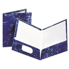 Marble Design Laminated High Gloss Twin Pocket Folder,Navy, 25/box