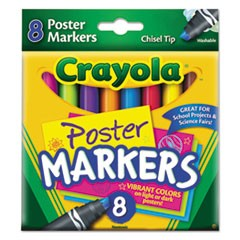 Washable Poster Markers, Broad Chisel Tip, Assorted Colors,