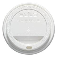 Traveler Drink-Thru Lid, 12-16oz Hot Cups, White, 50/Pack, 6 Packs/Carton