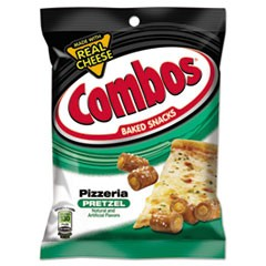 Combos Baked Snacks, 6.3 oz Bag, Pizzeria Pretzel, 12/Carton