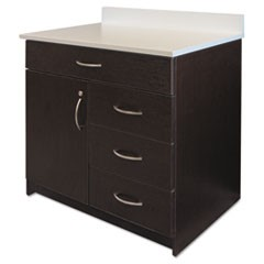 Hospitality Base Cabinet, Four Drawers/Door, 36w x 24 3/4d x 40h, Espresso/White