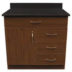 Hosp. Base Cabinet, Four Drawer/Door, 36w x 24 3/4d x 40h, Cherry/Granite Nebula