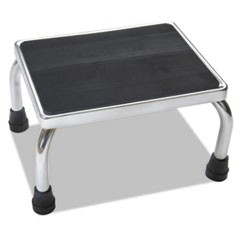 Foot Stool, 1-Step, 16w x 12d x 8.25h, Steel, Chrome/Black Mat