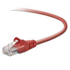 CAT5e Snagless Patch Cable, RJ45 Connectors, 3 ft., Red